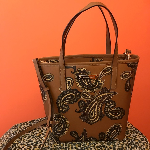 3945990e0ecc Michael Kors Bags | Mk Emry Zip Top Tote Paisley Brown | Poshmark